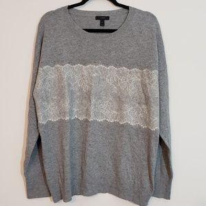J Crew Black Label Wool Blend Lace Sweater, sz XL